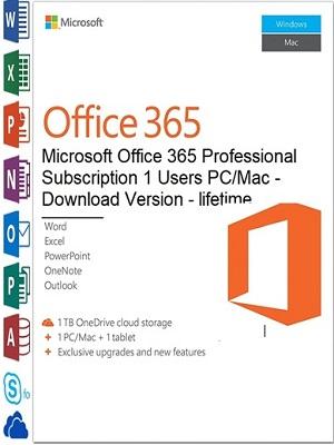 Microsoft Office 365 Professional Plus 1Users Pc/mac   Lifetime